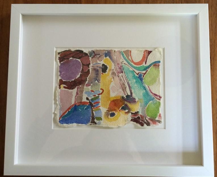 framed watercolour on handmade paper